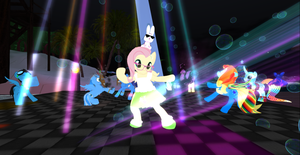 Fluttershy dances the night away by Discord