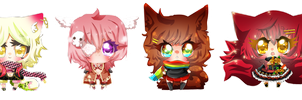 super chibi Commission set - Ayuki-Shura-Nyan by Tasuu-chan