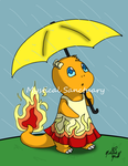 Charmander in the Rain by ChiiLissa