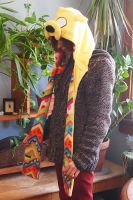 Jake the Dog hood-multi patterend fleece by bitesandkissesX