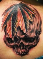 Maple Leaf Skull by hatefulss