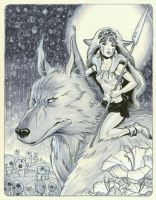 San and her wolf by MichaelDooney