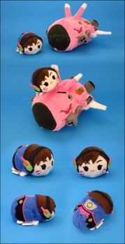 Stacking Plush: Mini D.Va and Small MEKA by Serenity-Sama