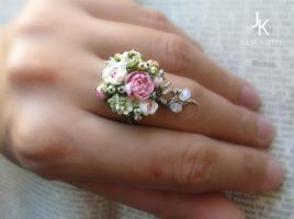 Silver ring Spring melody with miniature flowers by JuliaKotreJewelry