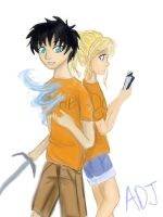 Percy and Annabeth by art-of-scribbles