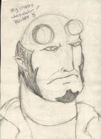 Young looking Hellboy sketch by Jezzy-Fezzy