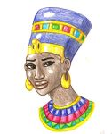 Nefertiti with Colored Pencils by DaBrandonSphere