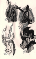MLP Villain Sketches by MicroGalaxies