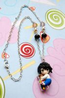 Death Note handmade necklace with polymer clay L by SimonaZ