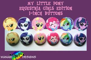 Mlp Eq Girls Buttons by wanabiEPICdesigns