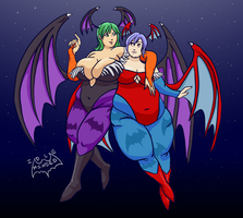 Commission: Morrigan and Lillith by Idle-Minded