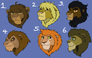 Lion Point Adoptables - Set 1 {CLOSED} by AnimeFan4Eternity23