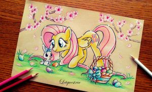 Fluttershy and her Easter rabbit by Letquestria