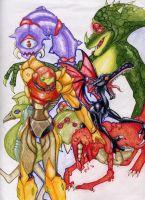Samus and the Metroid Gang by TickTock02