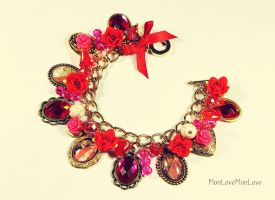 RED RIDING HOOD vintage style charm bracelet by MonLoveMonLove
