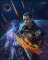 shepard and liara by crystalanna