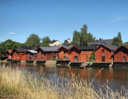 Old sheds in Porvoo by Pajunen