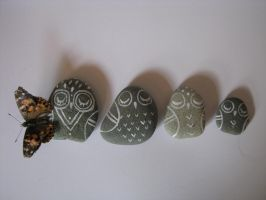 Owl Family Character Stones by BlackSeaFoam