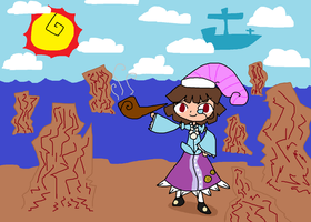 Art Trade - Kasumi At The Rocky Seashore by duskool