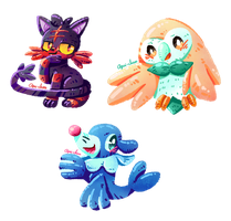 Pokemon Sun and Moon starters by Agui-chan