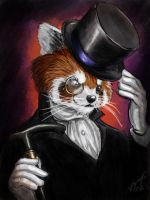 Victorian Red Panda Gentleman by JordanGreywolf