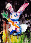 Watercolored Evil Bunny by Ryvienna