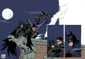 DC: Batman rooftop scene by ratcreature