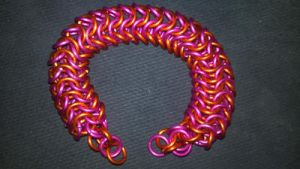 MLP Themed Scootaloo Chainmail Bracelet-2 by TheGiantsnoll