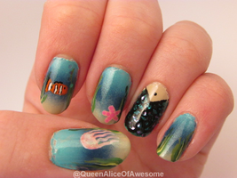 Sea Life Mermaid Nails by QueenAliceOfAwesome