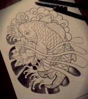 Koi tattoo draw by LilithHate