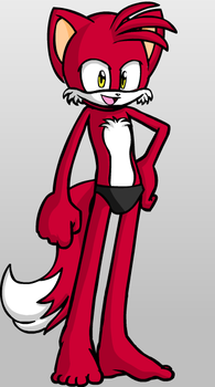 Techno the Red Fox in his black speedo by WolfTechnoSouth