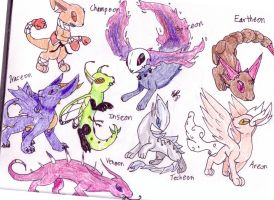 fake eeveelutions by MistrissTheHedgehog