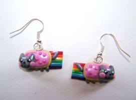 Nyan Cat Earrings by ByToothAndClaw