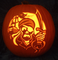 Skeleton Pirate Pumpkin - Lit Version by johwee