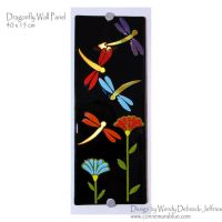 Dragonfly on Black - fused glass wall panel by ConnemaraBlue