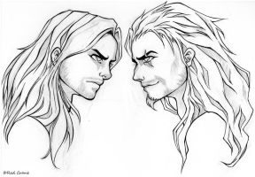 Scar and Mufasa Face-Off (line art) by Red-Crane