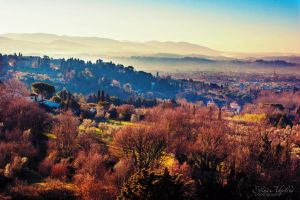 Between Fiesole and Florence by eileenel