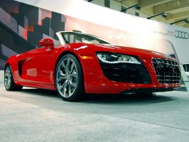 Hot red Audi R8 convertible by Partywave