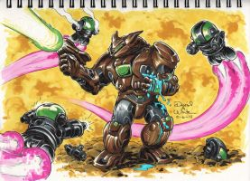 Inktober 2014 #6 Armorvor Battle by Mecha-Zone