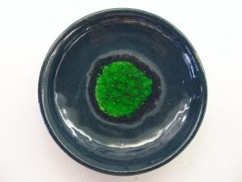 Ceramic Plate with Green Glass by panhead121
