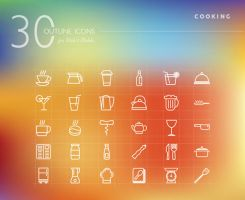 Cooking Outline Icons Set by dryopus