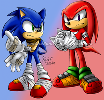 BOOMING Blue Blur and Knucklehead by SailorMoonAndSonicX