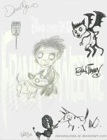 M first Frankenweenie drawing with signatures by danielaurista
