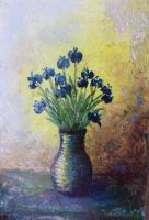 Miniature with a blue flowers by thesvetislav