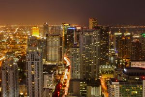 Miami skyline by night from above by workoutmaster