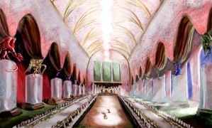 Great Hall of Galing Castle, Demonland by Spearhafoc