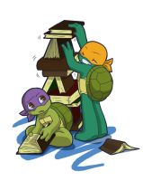TMNT: Books tower by NamiAngel