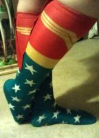 Wonder Woman socks with little red capes by Pabloramosart