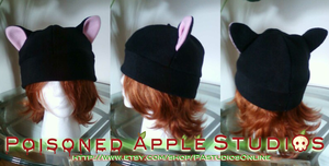 Black Kitty Fleece Hat by kuramachan