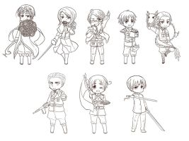 Axis allies chibi lineArt by ARCEL-16